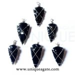 black-obsidian-wire-wrapped-arrowhead-pendants