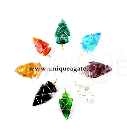 colourful-wire-wrapped-arrowhead-rainbow-glass-faceted-pendant