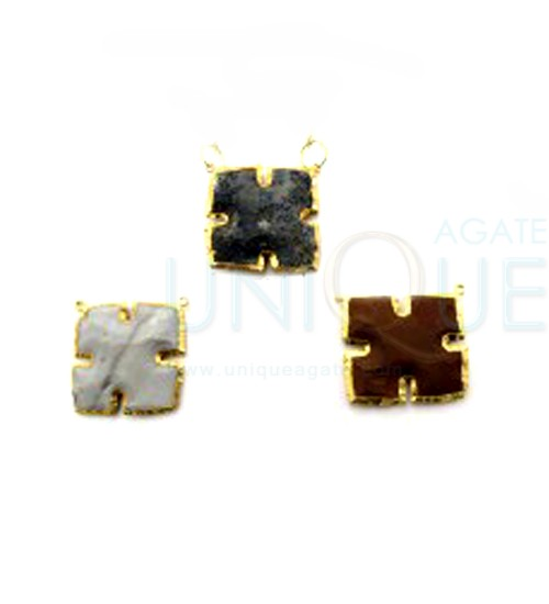 Agate-Arrowhead-Square-Double-Drill-gold-Electroplated-Pendant