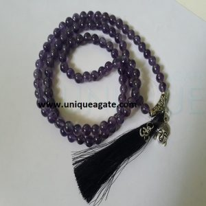 Amethyst Jap Mala With Double Charm