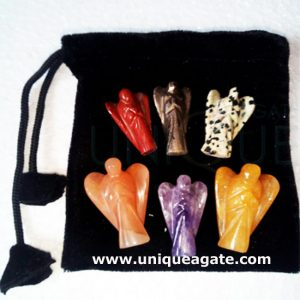 2 Inch Colourful Curved Gemstone Angel With Pouch