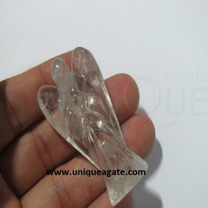 2Inch Clear Crystal Curved Gemstone Angel 22