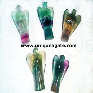 3inch-Multifluorit Curved Gemstone Angel