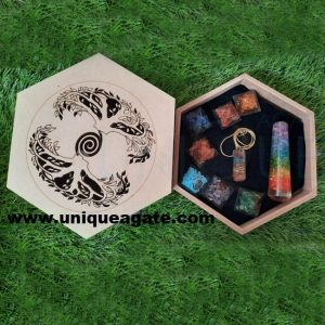 Wholesale Seven Chakra orgone Set With Wooden Box