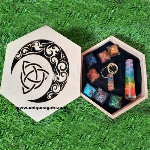 seven chakra engraved orgone pyramid set with wholesale wooden kit