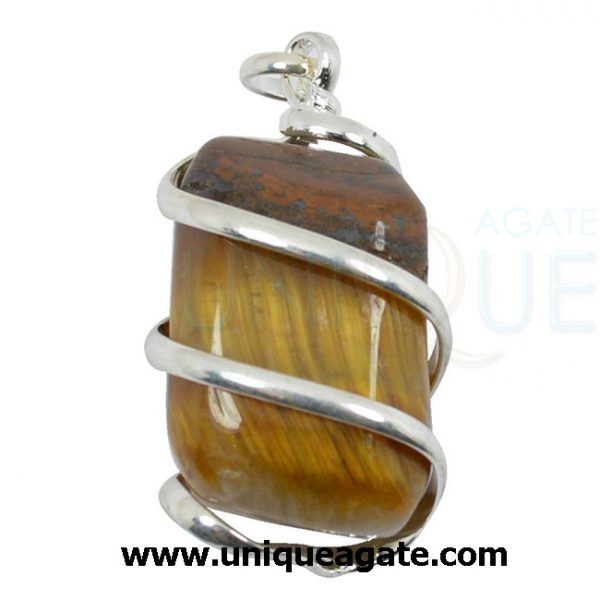 tiger eye natural wire wrapped pendant