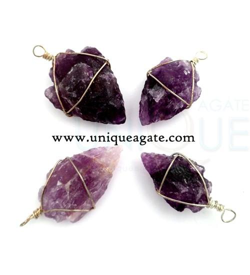 Amethyst-Wire-wrapped-arrowhead-pendants