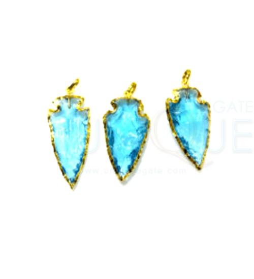 Aqua-Colour-Glass-electroplated-arrowhead-pendants