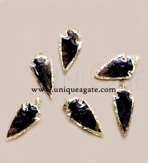 Black-obsidian-arrowhead-pendants