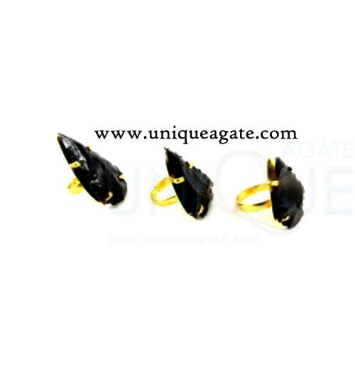 black-obsidian-adjustable-arrowhead-ring
