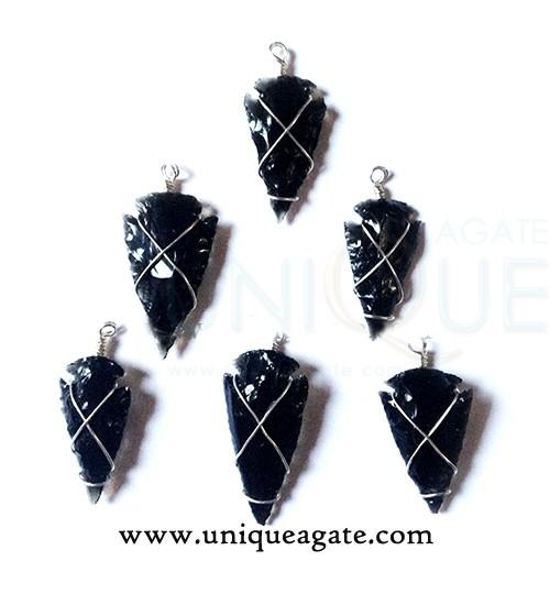 black-obsidian-wire-wrapped-arrowhead-pendants
