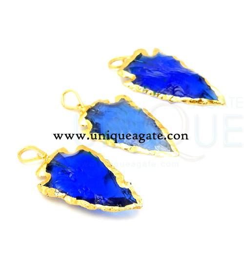 blue-colour-glass-electroplated-arrowhead-pendants