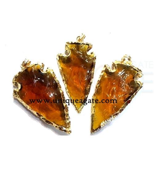 brown-colour-glass-electroplated-arrowhead-pendants