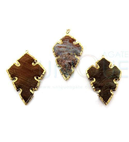 Agate-Cross-Shape-Gold-Electroplated-Arrowhead-Pendant