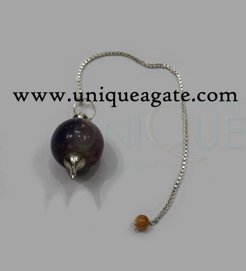 Amethyst-Bronze-Ball-Pendul