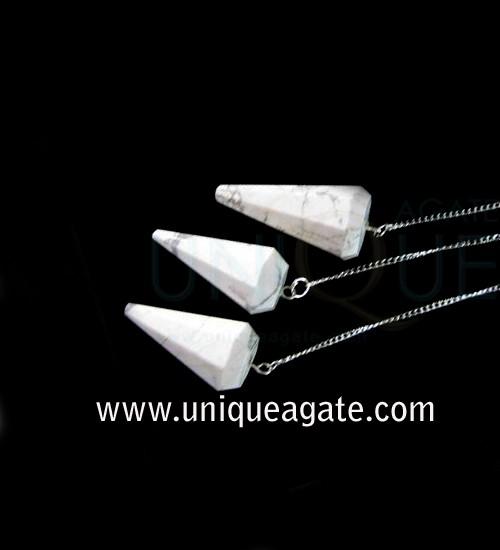 Howlite-Faceted-Pendulum