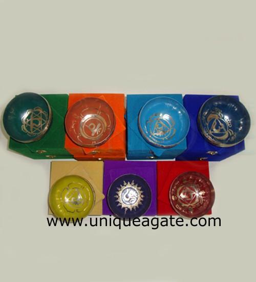 Handmade Hammer colorful Chakra singing bowls