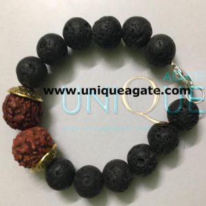 Lava-Beads-Rudraksha-Bracel