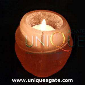 Rose Quartz Pot Shape Candle Holder