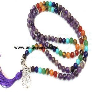 Amethyst Chakra Beads Jap Mala With Tree Of Life Charm