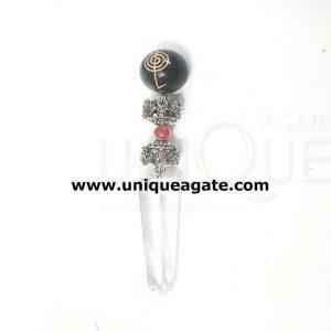 crystal healing stick with black agate reiki gemstone ball
