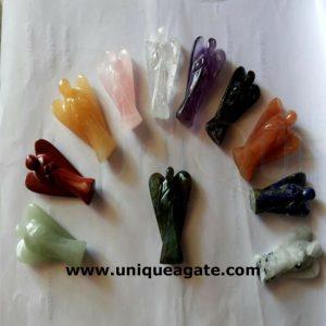 3 Inch Mix Colourful Healing Gemstone Angel