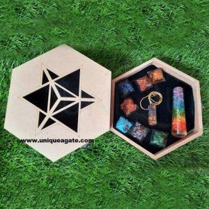 Customized logo crystal healing set 7 chakra orgone stone kit meditation set with wooden box