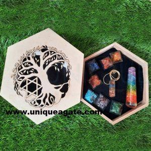 Engraved Seven Chakra orgone Set Wholesale Chakra Set With Wooden Box.