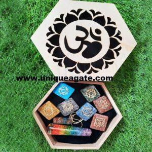 Gift box design 7 chakra orgone wooden kit