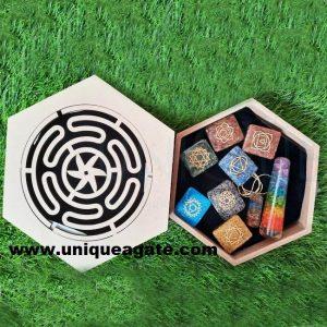 chakra orgone with wooden box wholesale price chakra orgone set engraved